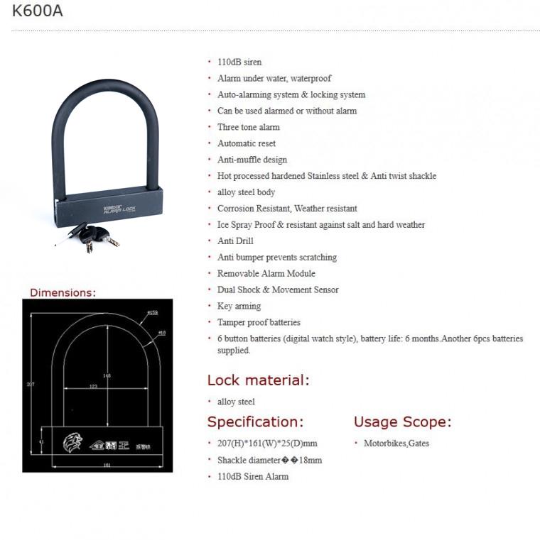 Λουκέτο πέταλο με συναγερμό 110 Dba ΑLARM LOCK Kinbar K600A