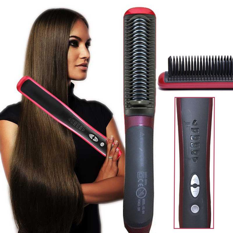 Κεραμική Θερμαινόμενη Ισιωτική Βούρτσα Μαλλιών Hair Straightener ASL-908 OEM