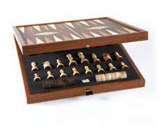 Τάβλι - Σκάκι χειροποίητο 41x41cm από ξύλο ελιάς και disign σε χρώμα ξύλου καρυδιάς Μανόπουλος STP36E