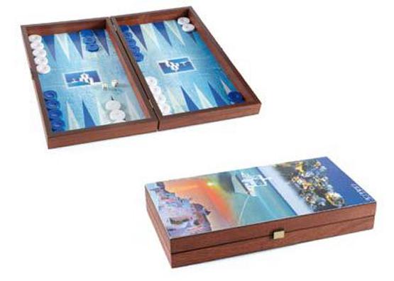 Τάβλι χειροποίητο ξύλινο καρυδιά 38x20cm Ελληνικά νησια Μανόπουλος TX2CY