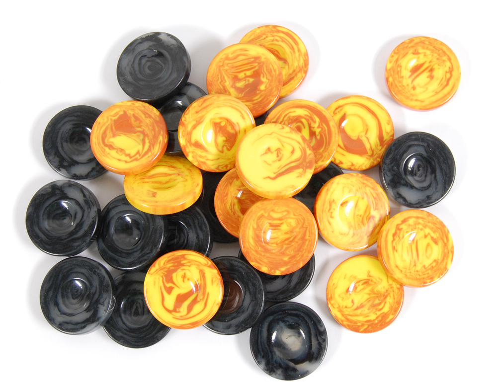 Πούλια για τάβλι 3,6cm μεγάλα πολυεστερικα μαύρα κίτρινα με νερά 30τμχ