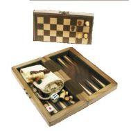 Ξύλινο Μαγνητικό Τάβλι & Σκάκι Καρυδιά Ταξιδιού 21 Χ 21 cm