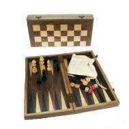 Ξύλινο Τάβλι & Σκάκι Καρυδιά Ταξιδιού 26 Χ 26 cm