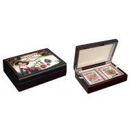 Ξύλινο κουτί  LAS VEGAS με δύο τραπουλες MODIANO