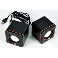 Mini Ηχείο Stereo 5W RMS Μαύρο - Πορτοκαλί με Τροφοδοσία USB 7x7x7cm Nakai Mini Digital Speaker D-02A