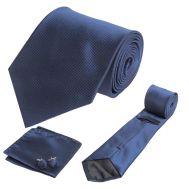Σετ γραβάτα, μανικετόκουμπα και μαντήλι μονόχρωμο μπλε OEM 30140