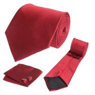 Σετ γραβάτα, μανικετόκουμπα και μαντήλι μονόχρωμο κόκκινο OEM 30140