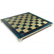 Σκακιέρα MANOPOULOS χάλκινη μπλε σμάλτο 28x28cm
