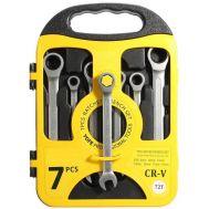 Σετ 7 Επαγγελματικά Κλειδιά Γερμανοπολύγωνα Χρωμίου Βαναδίου με Καστάνια Κεφαλή 8-19mm combination ratchet wrench set
