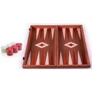 Χειροποίητο τάβλι 38x40cm δρυς & μαόνι 3 σε 1 κόκκινο MANOPOULOS TS2MRED