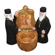 Γύψινο αγαλματίδιο βαμμένο στο χέρι 10,5x11,5x5,5 cm 2 Μοναχοί Για Ρεσώ