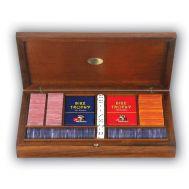 Ξύλινη κασετίνα Radica από καρυδιά 180 μάρκες , 2 τράπουλες , 8