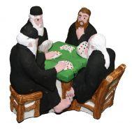 Γύψινο αγαλματίδιο βαμμένο στο χέρι 9x10x11cm 4 Μοναχοί Παίζουν Χαρτιά