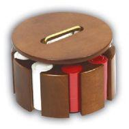 Περιστρεφόμενο Ξύλινο σετ Rotary από καρυδιά με 300 μάρκες και 2 τράπουλες πλαστικοποιημένες Poker No222