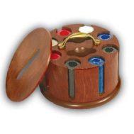 Περιστρεφόμενο ξύλινο σετ Rotary από καρυδιά, σε καφέ χρώμα Poker No222