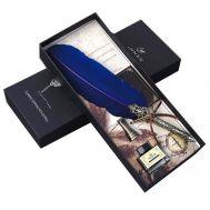Σκαλιστή Πένα με μπλε φτερό, βάση από ορείχαλκο & Μελάνι JINER