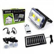 Τηλεχειριζόμενο Ηλιακό Σύστημα Φωτισμού & Φόρτισης με Πάνελ 3,5W, Μπαταρία, Φωτιστικό – Προβολέα 400LM + 3 Λάμπες LED 150 Lumens – OEM GDPLUS GD-11