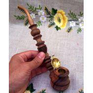Ξύλινη σκαλιστή χειροποίητη πίπα καπνού από ξύλο Καρυδιάς