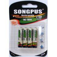 Μπαταρίες επαναφορτιζόμενες σετ 4 τεμ.Ni-MH, AAA, 2700mAh SONGPUS