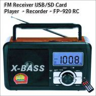 Φορητό Ραδιόφωνο FM & Music Player - Recorder with USB/SD card - XBass Speaker FP-920-RC