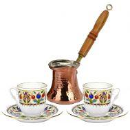Χάλκινο Μπρίκι Ελληνικού Καφέ - Ξύλινη Λαβή ( σετ 5 Μπρίκια )