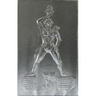 Ανάγλυφος πίνακας χειροποίητος 14Χ22 cm απο αλουμίνιο θέμα ο ΚΟΛΟΣΣΟΣ ΤΗΣ ΡΟΔΟΥ