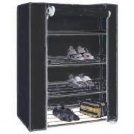 Ντουλάπα - Παπουτσοθήκη Φορητή Υφασμάτινη Μαύρη 80 X 60 X 28 cm