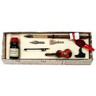 Πένα ξύλινη με εργαλεία γραφής & μελανοδοχείο στυλ αντίκα FRANCESCO RUBINATO art. 4072 BIS MU