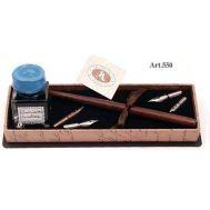 Πένα ξύλινη με εργαλεία γραφής & μελανοδοχείο στυλ αντίκα FRANCESCO RUBINATO art. 550