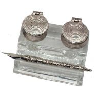 Πένα μεταλλική σκαλιστή με γυάλινη υποδοχή μελανοδοχείων FRANCESCO RUBINATO 7381 BIS