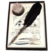 Μεταλλική σκαλιστή πένα γραφής με φτερό και μελανοδοχείο Francesco Rubinato 7342