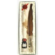 Μεταλλική σκαλιστή πένα γραφής με φτερό και μελανοδοχείο Francesco Rubinato 7544
