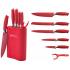 Σετ μαχαιριών 5+1 τεμαχίων από ανοξείδωτο ατσάλι και Βάση Σιλικόνης Red Royalty Line RL-6MSTK